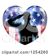 Clipart Of A Silhouetted Military Veteran Saluting Over An American Flag Heart And Bursts Royalty Free Vector Illustration