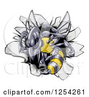 Clipart Of A Tough Wasp Over A Hole In A Wall Royalty Free Vector Illustration by AtStockIllustration