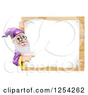 Clipart Of A Senior Wizard Pointing Around A Posted Notice Sign On Wood Royalty Free Vector Illustration
