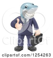 Clipart Of A Shark Businessman Grinning And Holding A Thumb Up Royalty Free Vector Illustration