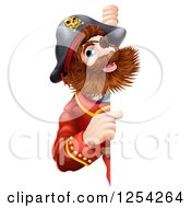 Clipart Of A Bearded Pirate Captain Pointing Around A Sign Royalty Free Vector Illustration by Geo Images