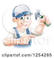 Clipart Of A Happy Brunette Caucasian Worker Man Holding A Hammer And Pointing Royalty Free Vector Illustration