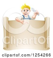 Clipart Of A Happy Blond Mechanic Man Holding A Wrench Over A Scroll Sign Royalty Free Vector Illustration by AtStockIllustration