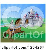 Clipart Of A Horseback Jousting Knight And Castle Royalty Free Vector Illustration