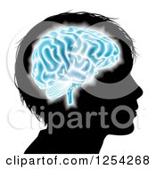 Clipart Of A Silhouetted Boys Head With A Glowing Blue Brain Royalty Free Vector Illustration