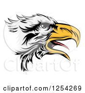 Clipart Of A Squaking Bald Eagle Head In Profile Royalty Free Vector Illustration by Geo Images