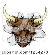 Clipart Of An Aggressive Bull Breaking Through A Wall Royalty Free Vector Illustration