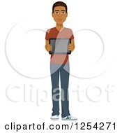 Clipart Of A Casual Handsome Young Black Man Holding A Tablet Computer Royalty Free Vector Illustration by Character Market