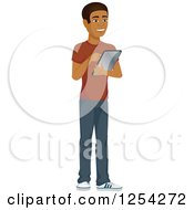 Clipart Of A Casual Handsome Young Black Man Using A Tablet Computer Royalty Free Vector Illustration by Character Market