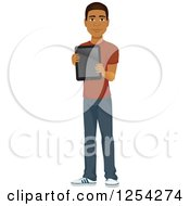 Clipart Of A Casual Handsome Young Black Man Holding A Tablet Royalty Free Vector Illustration by Character Market