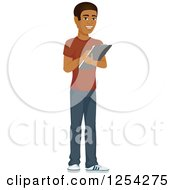 Clipart Of A Casual Handsome Young Black Man Taking Notes Royalty Free Vector Illustration by Character Market