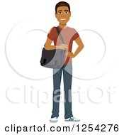 Clipart Of A Casual Handsome Young Black Man Carrying A Laptop Bag Royalty Free Vector Illustration by Character Market
