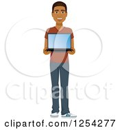Clipart Of A Casual Handsome Young Black Man Holding A Laptop Computer Royalty Free Vector Illustration by Character Market