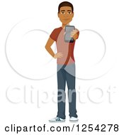 Clipart Of A Casual Handsome Young Black Man Holding Out A Cell Phone Royalty Free Vector Illustration by Character Market