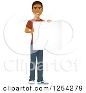Clipart Of A Casual Handsome Young Black Man Holding A Tablet Computer Royalty Free Vector Illustration