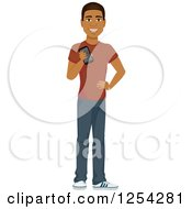Clipart Of A Casual Handsome Young Black Man Holding A Cell Phone Royalty Free Vector Illustration by Character Market