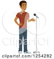 Clipart Of A Casual Handsome Young Black Man Speaking Into A Microphone Royalty Free Vector Illustration by Character Market
