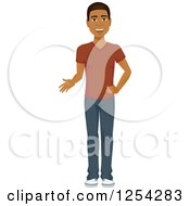 Clipart Of A Casual Handsome Young Black Man Talking Royalty Free Vector Illustration by Character Market