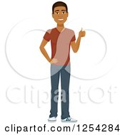Clipart Of A Casual Handsome Young Black Man Holding A Thumb Up Royalty Free Vector Illustration by Character Market