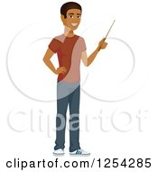 Clipart Of A Casual Handsome Young Black Man Using A Pointer Stick Royalty Free Vector Illustration by Character Market