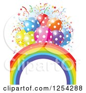 Clipart Of A Rainbow Arch And Colorful Polka Dot Party Balloons With Confetti Over Blue And White Royalty Free Vector Illustration by Pushkin