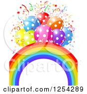 Clipart Of A Rainbow Arch And Colorful Polka Dot Party Balloons With Confetti Royalty Free Vector Illustration by Pushkin