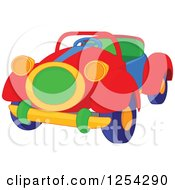 Clipart Of A Colorful Toy Convertible Car Royalty Free Vector Illustration