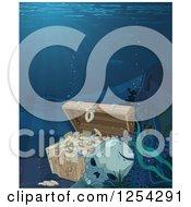 Clipart Of A Human Skull And Sunken Treasure Royalty Free Vector Illustration