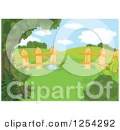 Clipart Of A Fence And Hilly Rural Landscape Backdrop Royalty Free Vector Illustration