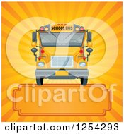 Clipart Of A School Bus Over Rays And A Frame Royalty Free Vector Illustration by Pushkin