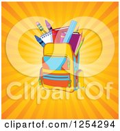 Clipart Of A Backpack Full Of School Supplies Over Rays Royalty Free Vector Illustration by Pushkin