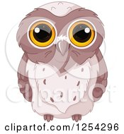 Clipart Of A Cute Brown Owl With Big Yellow Eyes Royalty Free Vector Illustration by Pushkin