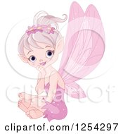 Clipart Of A Cute Pink Sitting Fairy Royalty Free Vector Illustration