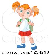 Clipart Of A Happy Caucasian School Girl Royalty Free Vector Illustration by Pushkin