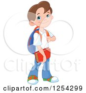 Clipart Of A Happy Caucasian School Boy Royalty Free Vector Illustration