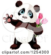 Cute Panda Bear Waving And Holding Tulip Flowers