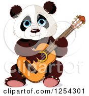 Clipart Of A Cute Panda Bear Playing A Guitar Royalty Free Vector Illustration