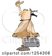 Clipart Of A Hitchhiking Caveman Holding Luggage Royalty Free Vector Illustration