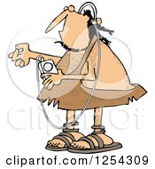 Clipart Of A Caveman Listening To Music On An Mp3 Player Royalty Free Vector Illustration by djart