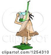Clipart Of A Caveman In A Snorkel Mask Royalty Free Vector Illustration