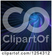 Clipart Of A Purple And Blue Fractal Spiral On Black Royalty Free Illustration