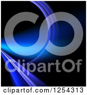 Clipart Of A Purple And Blue Fractal Line And Curve On Black Royalty Free Illustration