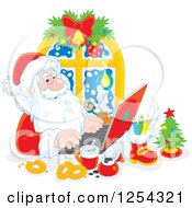 Clipart Of Santa Claus Responding To Christmas Emails On A Laptop Royalty Free Vector Illustration by Alex Bannykh