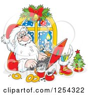 Clipart Of Santa Responding To Christmas Emails On A Laptop Royalty Free Vector Illustration by Alex Bannykh