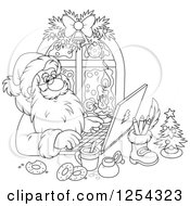 Clipart Of Black And White Santa Claus Responding To Christmas Emails On A Laptop Royalty Free Vector Illustration by Alex Bannykh