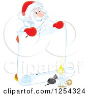 Clipart Of Santa Claus Holding A Feather Quil And Scroll Royalty Free Vector Illustration