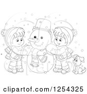 Clipart Of Black And White Children Making A Snowman Royalty Free Vector Illustration