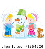 Clipart Of Blond White Children Making A Snowman Royalty Free Vector Illustration