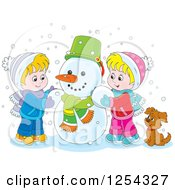 Clipart Of Blond Caucasian Children Making A Snowman Royalty Free Vector Illustration