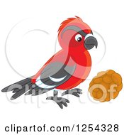 Clipart Of A Curious Red Crossbill Bird Royalty Free Vector Illustration